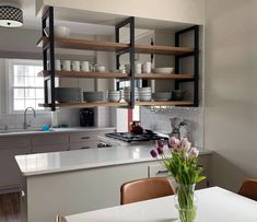 Ceiling Mounted Floating Shelf Brackets – Iron HomeYou can find Kitchens and more on our website.Ceiling Mounted Floating Shelf Brackets – Iron Home Kitchen Furniture, Kitchen Interior, New Kitchen, Kitchen Decor, Kitchen Ideas, Awesome Kitchen, Kitchen Layout, Kitchen Designs, Coastal Interior