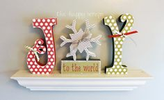 Adorable colors & mixed pattern letters spelling 'JoY' with the snowflake representing the 'o'—DIY Christmas Idea