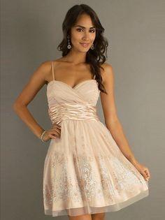 A-Line/Princess Spaghetti Straps Sleeveless Beading Short/Mini Satin Dresses