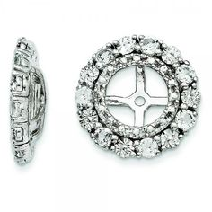 Allurez Diamond & White Topaz Earring Jackets Sterling Silver (0.99ct) ($260) ❤ liked on Polyvore featuring jewelry, earrings, sterling silver diamond jewelry, round earrings, diamond jewellery, earring jewelry and sterling silver stud earrings