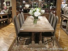 love this farm table. maybe too ashy in color?  But great lines. Country Willow Furniture