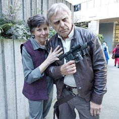 The grandparents of the @coregeek clan as #GeneralLeia and #HanSolo.  #cosplay #emeraldcitycomicon #emeraldcitycomicon2016 #eccc #eccc2016 #starwarstheforceawakens #starwars #theforceawakens #princessleia