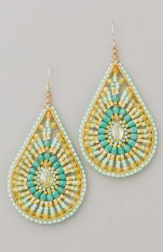 hippie-chic earrings to dress up my plain white tshirt and jeans :o) Bead Earrings, Teardrop Earrings, Crochet Earrings, Yellow Earrings, Turquoise Earrings, Turquoise Beads, Beaded Jewelry, Handmade Jewelry, Beadwork Designs