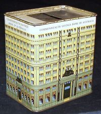 Vintage Tin Can Bank Commonwealth Savings Bank of Australia Building CBA Bldg