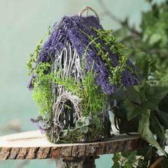 Lavender Moss and Twig Birdhouse - Fairy Garden Miniatures - Dollhouse Miniatures - Doll Making Supplies - Craft Supplies