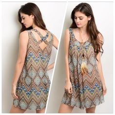 Coming Soon This sleeveless dress features a scoop neckline, tribal print all over, and a relaxed fit. If you are unsure of what size to order,  just ask and I can provide measurements!! Material: 100% Polyester NO TRADES ✔️Reasonable offers considered✔️ Dresses