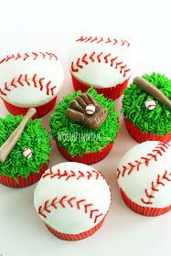 Tara--thinking of you with this one :-) Worth Pinning: Major (or Little) League Baseball Cupcakes Baseball Cupcakes, Baseball Treats, Football Cakes, Little League Baseball, Baseball Birthday Party, Cupcake Cookies, Cupcake Toppers, Cupcake Ideas, Cupcake Recipes