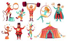 Circus characters. Juggling animals, juggler artist clown and strongman performer. Clowns comedian, juggling jester performer, magician and monkey. Cartoon vector illustration isolated icons set