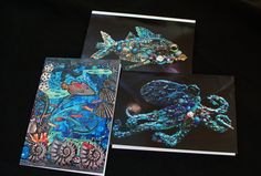 Bluemoose ART Card trio Sealife combo by bluemoose on Etsy, $12.00