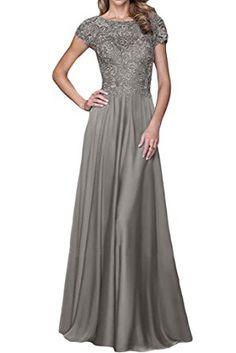 ivyd ressing Mujer Exquisite aermel corta a de línea gasa & Punta de largo Fiesta Vestido Prom para vestido de noche gris 52