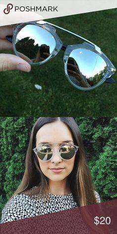 Silver Mirrored Sunglasses Plastic and lightweight mirrored silver sunglasses. Inspired by the Gucci ones! Accessories Sunglasses