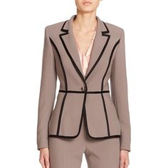 Escada Piped Wool Blazer In Pewter Work Suits For Women, Blazers For Women, Business Attire, Business Outfits, African American Fashion, Casual Outfits, Fashion Outfits, Silk Jacket, Clothing Hacks