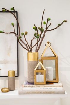 These gold lanterns are a simple and easy way to make your mantel feel extra sophisticated.