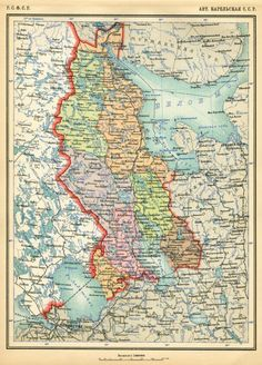 Map of the Karelian A. from the Atlas of the USSR published in 1928 Finland Map, Geography Map, Globe Decor, Map Globe, Fantasy Map, Old Maps, Vintage Maps, Map Design, Historical Maps