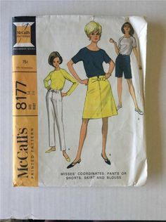 8177 M Vtg 60s Pattern 4 Section Dart Fitted Skirt Pants Shorts Blouse Sz 14 B34