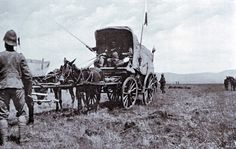 British ambulance collecting wounded soldiers after the Battle of Colenso on 15th December 1899 during the Boer War