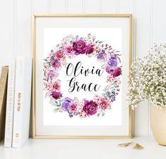 Custom Name Art Print Monogram Wall art by FloralArtFantasy