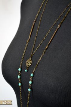 Long Turquoise Necklace  Boho Necklace  Bronze Necklace  by LeOcty