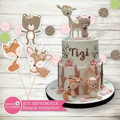 Kit imprimible personalizado animales del bosque romántico vintage Boho Baby Shower, Baby Shower Cakes, Baby Event, Woodland Baby, 1st Birthday Girls, Decoration Table, Birthday Decorations, First Birthdays, Party Time