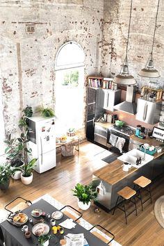 Ideas Apartment Kitchen Design Ideas Inspiration For 2019 Home Design, Wall Design, Ceiling Design, Modern Design, Jardin Vertical Artificial, Kitchen Decor, Kitchen Design, Kitchen Brick, Kitchen Ideas