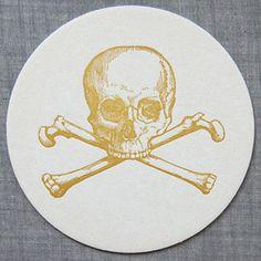 Sesame Letterpress- Skull coasters