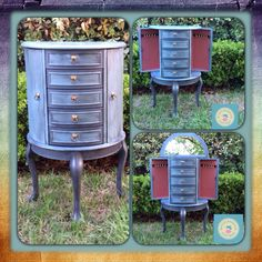 Jewelry Armoire in Shabby Paints Baby Boo, Garfield Grey, and Black ReVax mixed with Smoked Pearl Shimmer! Armoire Redo, Furniture Decor, Painted Furniture, Computer Armoire, Musical Jewelry Box, Glaze Paint, Jewelry Armoire, Furniture Inspiration, Jewellery Storage