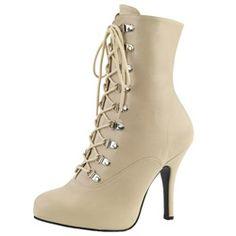 High Heels Stiefelette Kunstleder nude cream Übergrößen Größe 39-47  Schnürung Reißverschluss