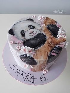 Little panda for a little girl Sara. Cupcakes, Cupcake Cakes, Bolo Panda, Panda Cakes, Teen Cakes, Watercolor Cake, Baby Girl Cakes, Hand Painted Cakes, Animal Cakes