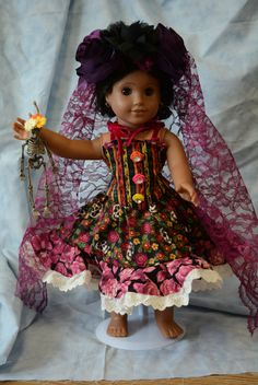 doll clothes Day of the Dead dress sugar skulls roses corset