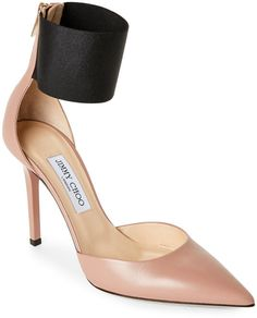 jimmy choo Ballet Pink & Black Trinny Pointed Toe High Heel Ankle Cuff Pumps