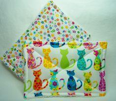 Nodda Sponge in Calico Cats in White - Sponge Set - Dish Cloth - Cleaning Cloth…