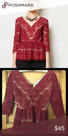 Maeve lace peplum Lace Peplum top by Maeve. Worn once. Beautiful dressed up or down with jeans! Anthropologie Tops Blouses