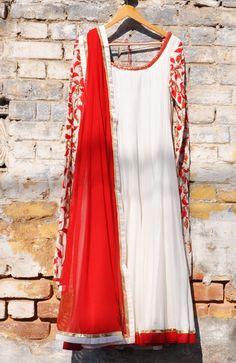 Ivory mul mul kalidar kurta set with resham and faresha embroidered churi sleeves with a red chiffon embroidered dupatta