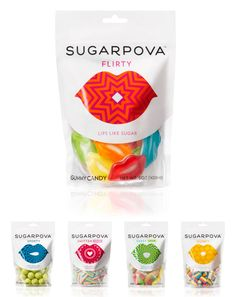 Candy packaging under the Sugarpova brand (launched product). I think it's a silly idea to brand treats with name of a tennis star (originates from Sharapova).