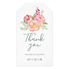 Spring Wedding watercolor Peonies guest favor Gift Tags - diy cyo customize create your own #personalize