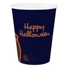 Happy Halloween Spiders Paper Cup - halloween decor diy cyo personalize unique party
