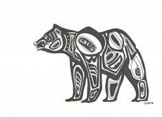 Alaskan Bear Tribal Style in Sharpie Ink by Essence of Ink on Etsy. Sharipie Art, Perfect for a gallery wall. Totems, Alaskan Tattoos, Simbolos Tattoo, Bear Spirit Animal, Native American Totem, Bear Silhouette, Bear Drawing, Haida Art, Canadian Art