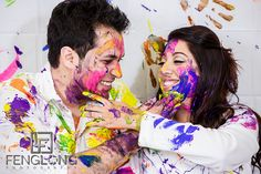 Finger painting Indian engagement session in Atlanta