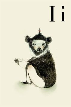 I is for Indri!  My fave girl name is in good company with this adorable, quirky little lemuroid.  $20 for an 8x11 art print from holli (etsy).