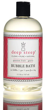 Deep Steep Organic Bubble Bath in Passion Fruit Guava  * No Parabens * No Sodium Lauryl Sulfate * No Mineral Oil * No Artificial Fragrances * No Chemical Preservatives * Gluten Free * Not Tested On Animals * Vegan