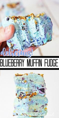 Youve never had fudge until youve tried this Blueberry Muffin Fudge recipe. Its the perfect way to get excited about fresh blueberries and a no-bake treat! Fudge Recipes, Candy Recipes, Sweet Recipes, Baking Recipes, Dessert Recipes, Kitchen Recipes, Breakfast Recipes, Vegan Recipes, Homemade Fudge