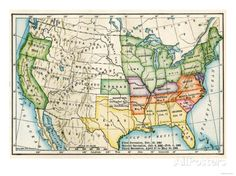 U.S. Map Showing Seceeding States by Date, American Civil War, c.1861 Giclée-Druck bei AllPosters.de
