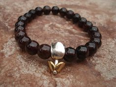 Garnet Bracelet with Silver and Gold Tone by MakeMeSmileJewelry,