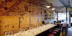 Very cool brick wall bar backdrop