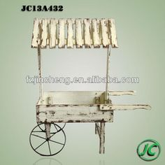 Antique White Displayed Garden Wooden Flower Cart With Roof - Buy Flower Cart,Wooden Flower Cart,Garden Flower Cart Product on Alibaba.com