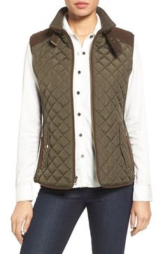 Free shipping and returns on Gallery Quilted Vest with Faux Suede Trim (Regular…