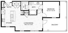 A6 – One Bedroom Apartment / One Bathroom  1,006 Square Feet