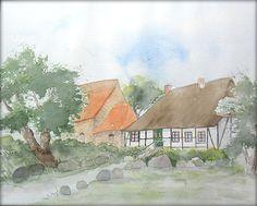 Middelhagen auf Rügen - Aquarell - 24 x 30 cm - Original - Landschaft