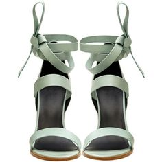 Tibi Mint Pierce sandals (240 CAD) ❤ liked on Polyvore featuring shoes, sandals, heels, tibi shoes, laced sandals, lace up shoes, strappy heel sandals and mint green sandals