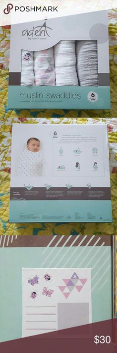 Aden by Aden and Anais, Muslin Swaddles, Brand new Brand new box of girl print muslin swaddles. Unopened.   With its comforting breathability and touchable softness, the aden ® by aden + anais ® classic muslin swaddle was the first of its kind outside of Australia and continues to set the standard around the world. A go-to for bedtime and beyond, it can be used in a variety of ways and stays soft wash after wash. Thread Count: 250 Material: Cotton Care and Cleaning: Machine wash, cold, Do…